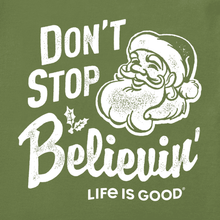 Load image into Gallery viewer, Life is Good Santa Don't Stop Believing Long Sleeve