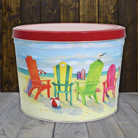 Beach Chairs Two Gallon Popcorn Tin