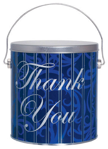 Blue Thank You One Gallon Popcorn Tin