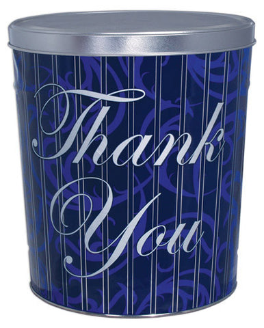 Blue Thank You Three Gallon Popcorn Tin