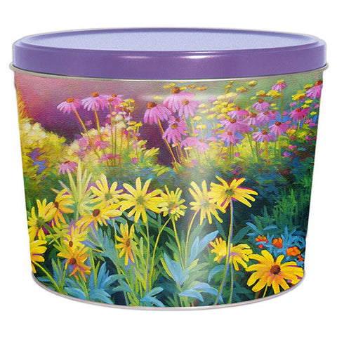 Sunset Garden Two Gallon Popcorn Tin