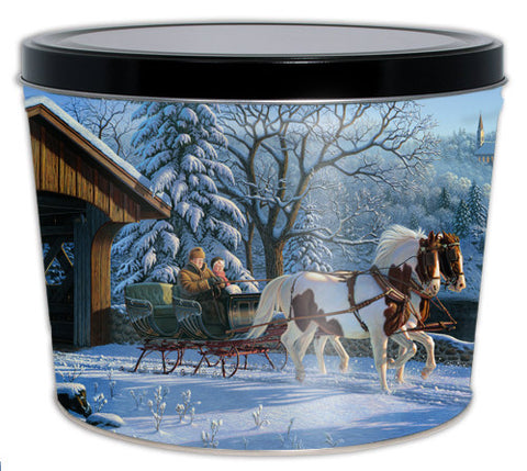 Winter Sleigh Ride Two Gallon Tin
