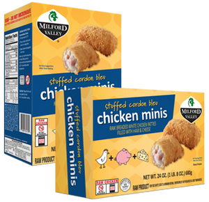 Milford Valley Stuffed Cordon Bleu Chicken Minis Case - 6 Cartons