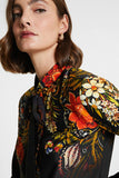 Silk floral blouse with bow
