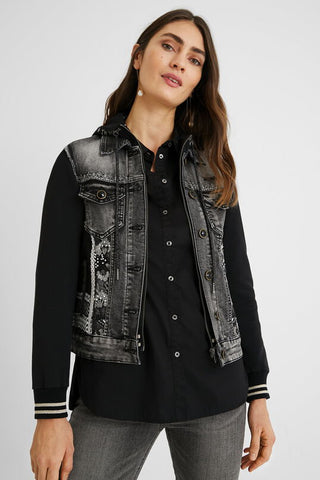 Bimaterial hooded Black Denim jacket