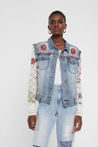 Jacket floral patch jean and crochet