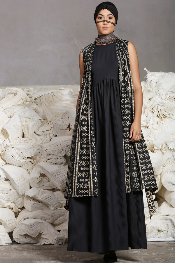 Black Jumpsuit With Batik Cape (Sleeveless)