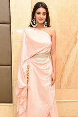 Nidhhi Agerwal in Powder Pink Textured Top and Pant