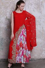Coral Embroidered Top With Attached Printed Pleats