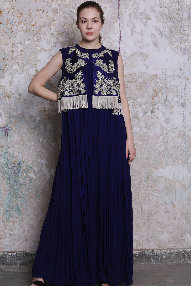 Midnight Blue Jumpsuit With Embroidered Bandi