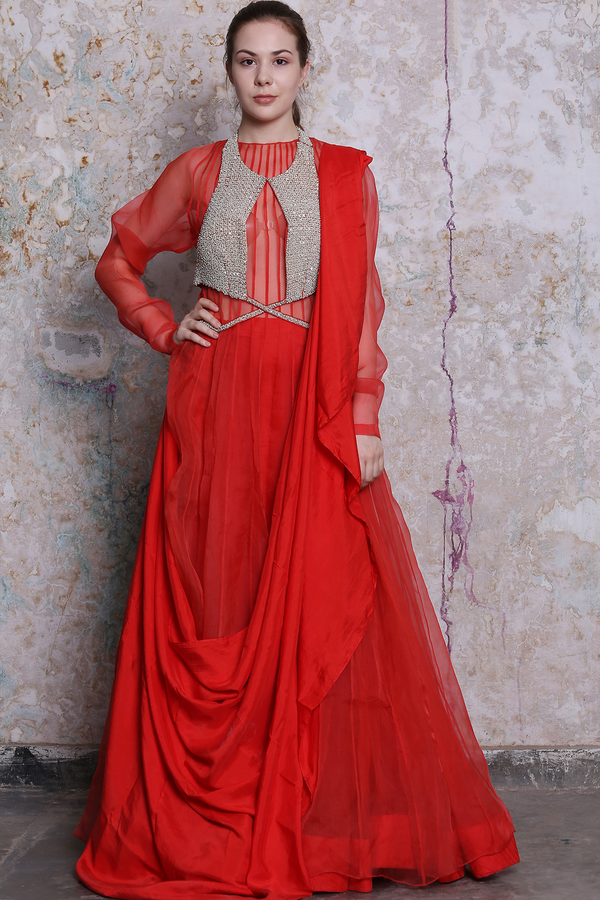 Red Anarkali And Skirt Set