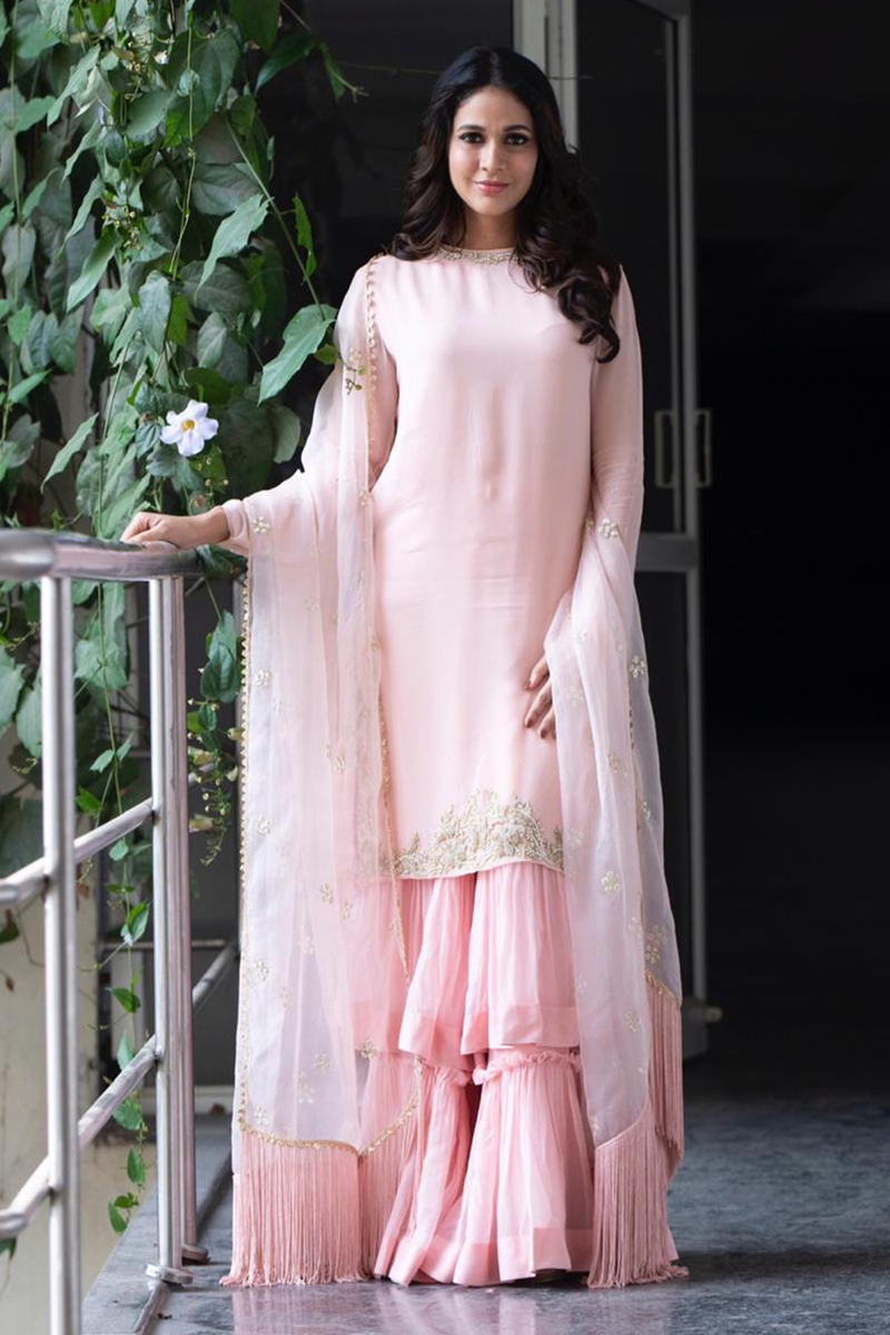 Lavanya Tripathi In Powder Pink Kurta With Sharara Set