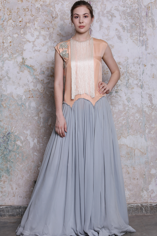 Peach Ice Blue Scallop Embroidered  Gown