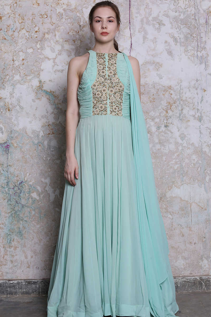 Light Blue Embroidered Maxi