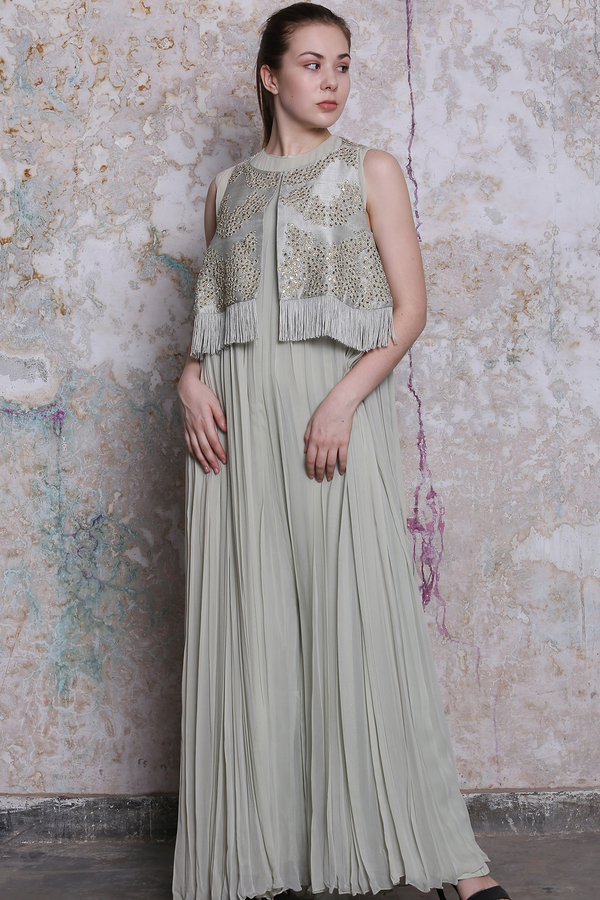 Grey Jumpsuit With Embroidered Bundi