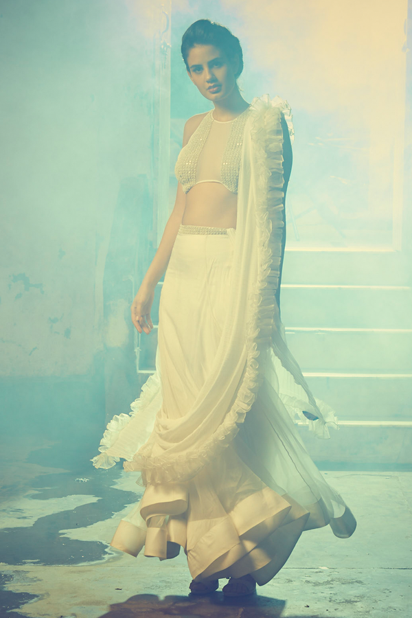 Ivory Embroidered Lehenga With Blouse