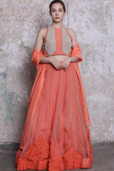 Tangerine Textured Lehenga Set