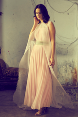 Powder Pink Embroidered Maxi With Jacket