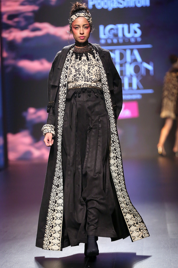 Black Embroidered Jacket With Pleated Maxi
