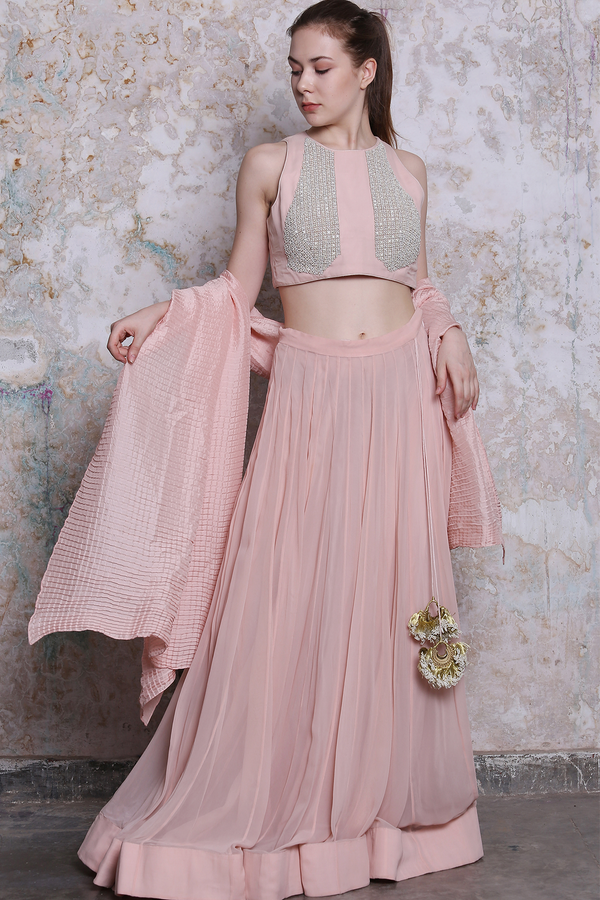 Powder Pink Lehenga With Embroidered Blouse
