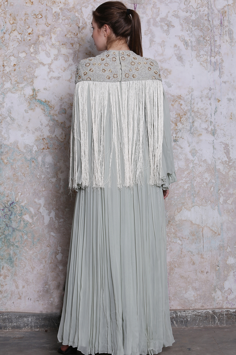 Light Grey Embroidered Bundi With Maxi