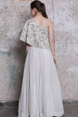 Ivory Embroidered Off shoulder Top and Skirt