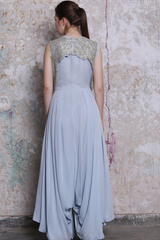 Ice Blue Jumpsuit With Embroidered Bundi