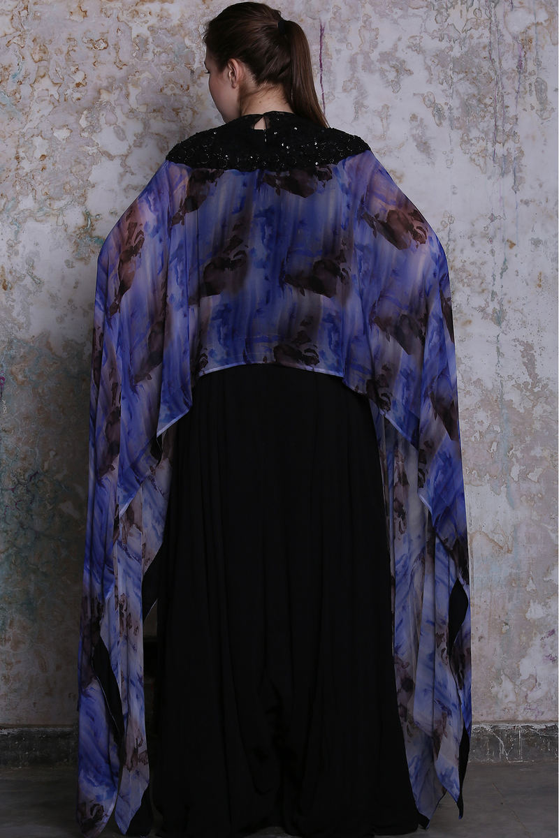 Black Jumpsuit With Blue Embroidered Printed Cape