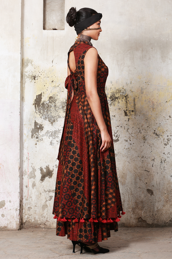 Red Grey Batik Bow Maxi