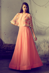 Tangerine Embroidered Yoke Anarkali