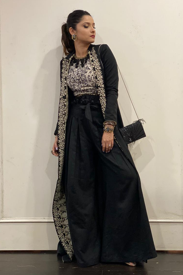 Ankita Lokhande in Black Embroidered Jacket With Pant