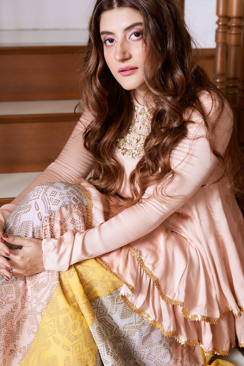Trishala Sikka in Peach Embroidered Kurta With Dupatta Set