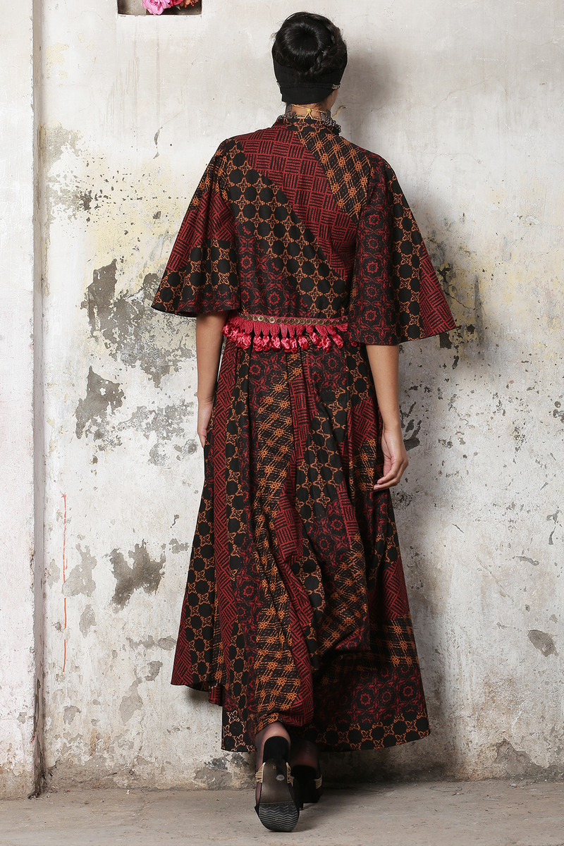 Red Grey Batik Top And Pant (With Bell Sleeves)