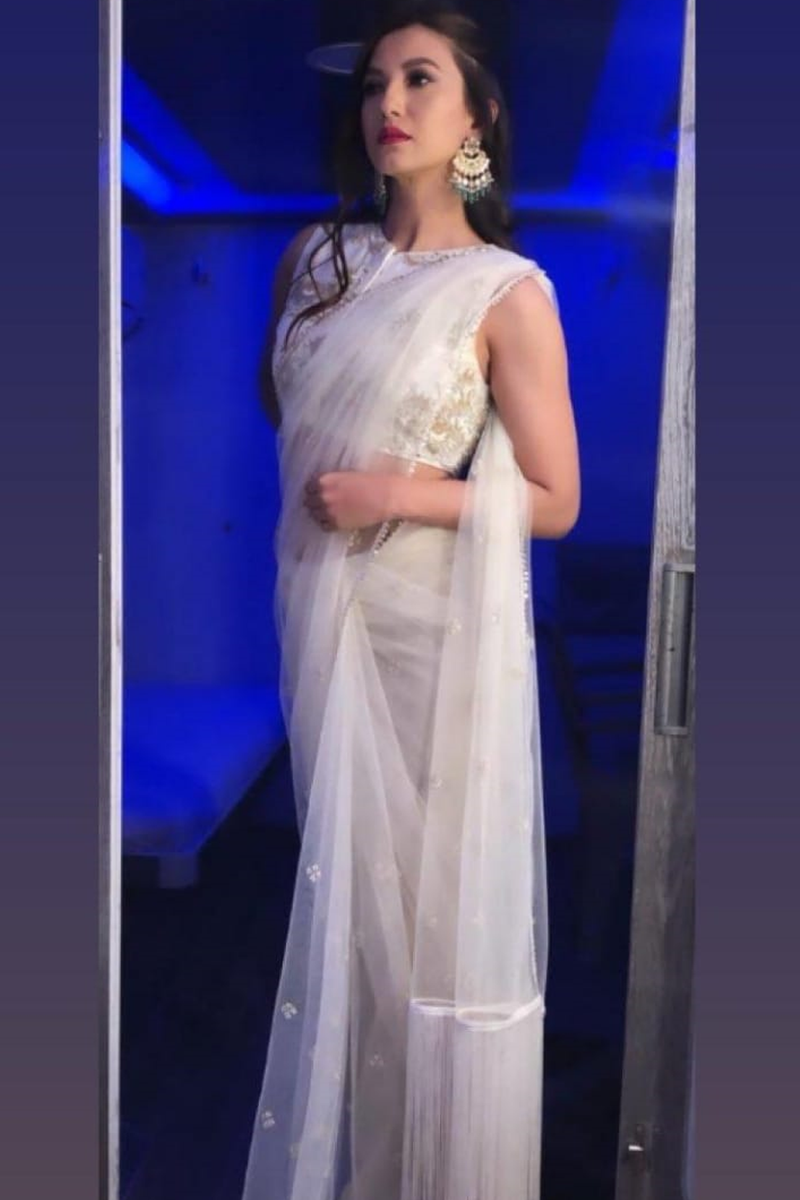 Gauahar Khan in Ivory Embroidered Saree With Blouse