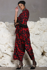 Archana Puran Singh in Red Black Batik Jumpsuit (With Bell Sleeves)