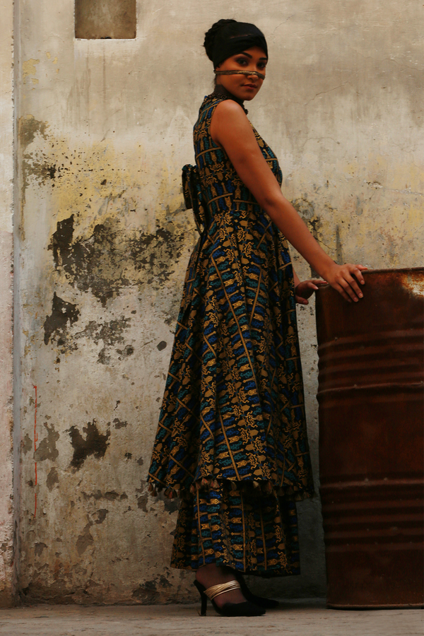 Blue Batik Gold Bow Maxi