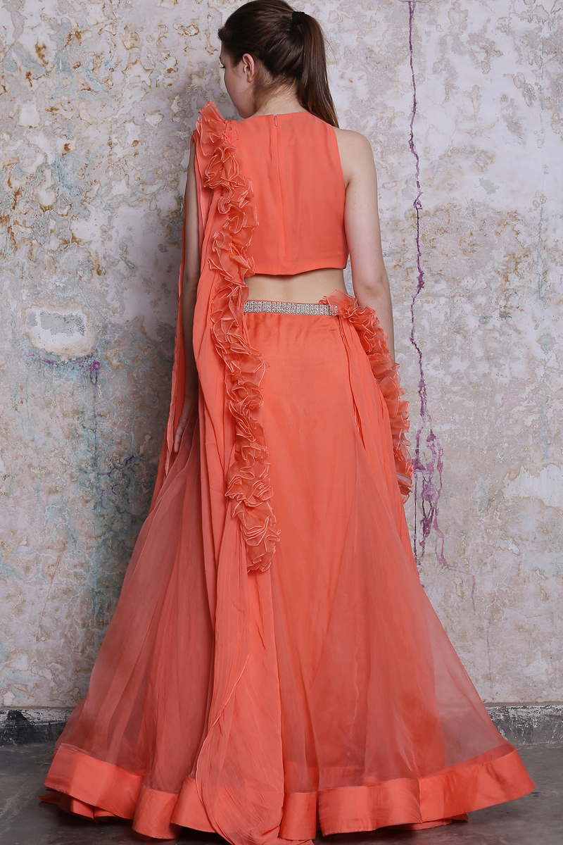 Tangerine Embroidered Lehenga With Blouse