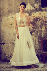 Ivory Embroidered Corset Lehenga Set