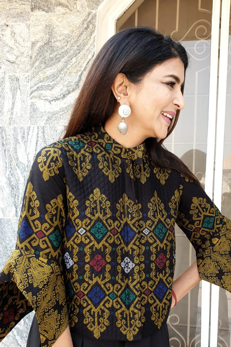 Lakshmi Manchu in Black Batik Shirt with Pant