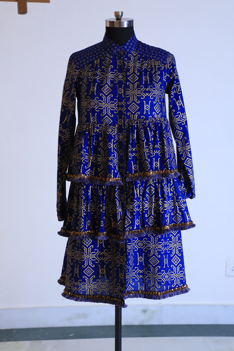 Blue Gold Batik Layered Top