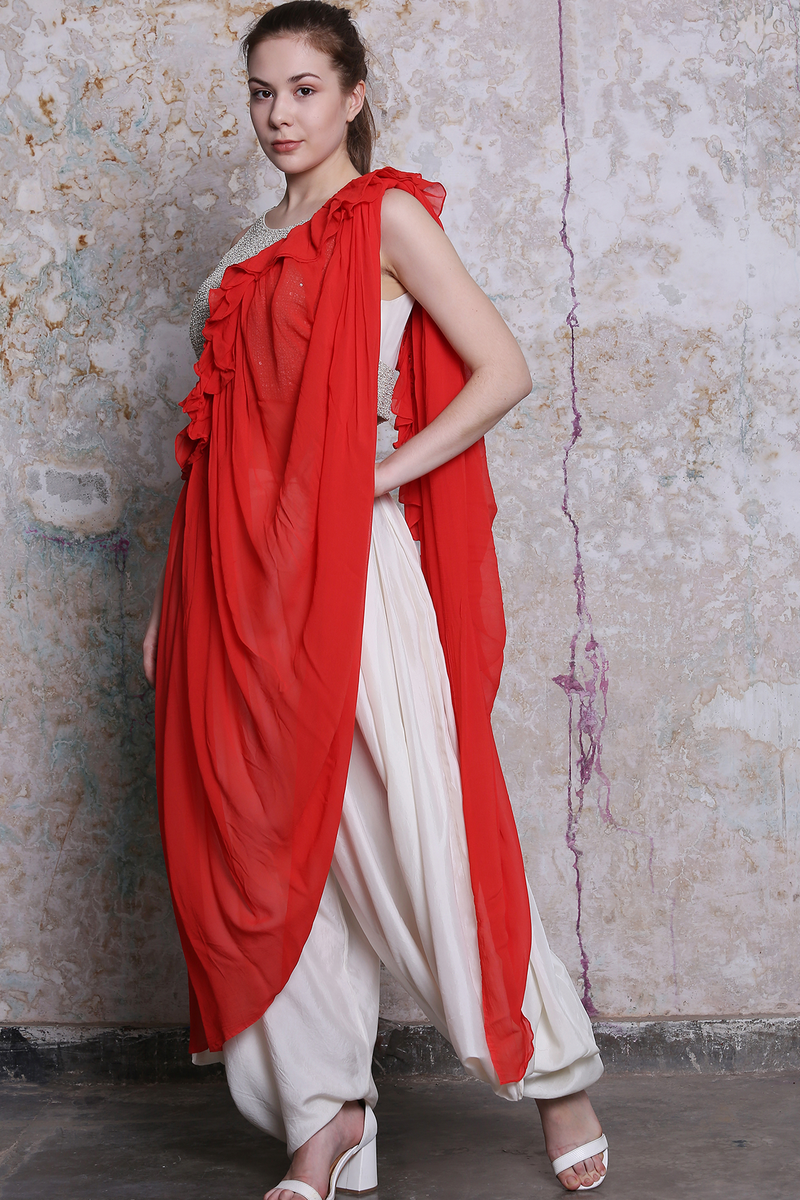 Red Ivory Ruffle Saree And Pant Set