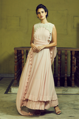 Pink Maxi With Embroidered Bundi