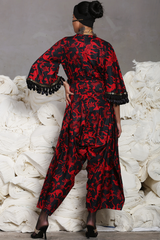 Red Black Batik Jumpsuit (With Bell Sleeves)