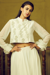 Ivory Embroidered Sumo Jacket With Pant