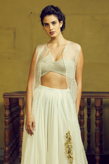 Ivory  Bustier And Pant Set