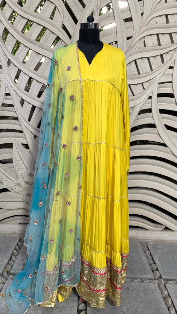 Yellow Gather Anarkali With Embroidered Dupatta Set Of 3