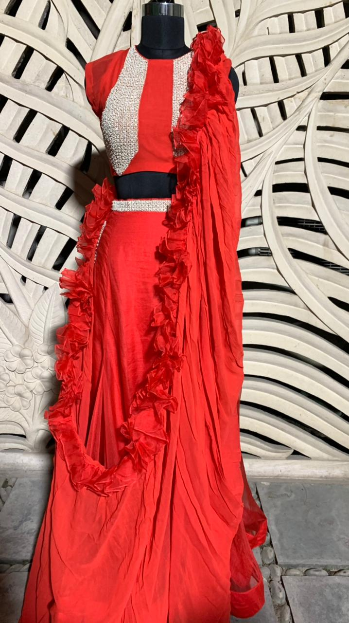 Red Embroidered Lehenga With Blouse And Ruffle Dupatta