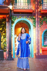 Archana Puran Singh in Blue Chanderi Kurta - Set Of 3