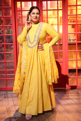 Archana Puran Singh in Mango Embroidered Anarkali - Set Of 3