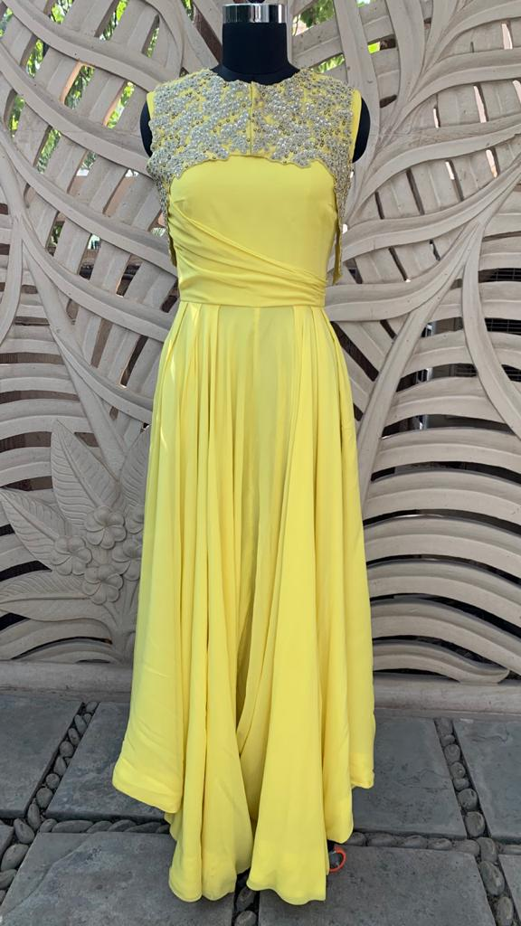 Yellow Embroidered Jumpsuit Set Of 2